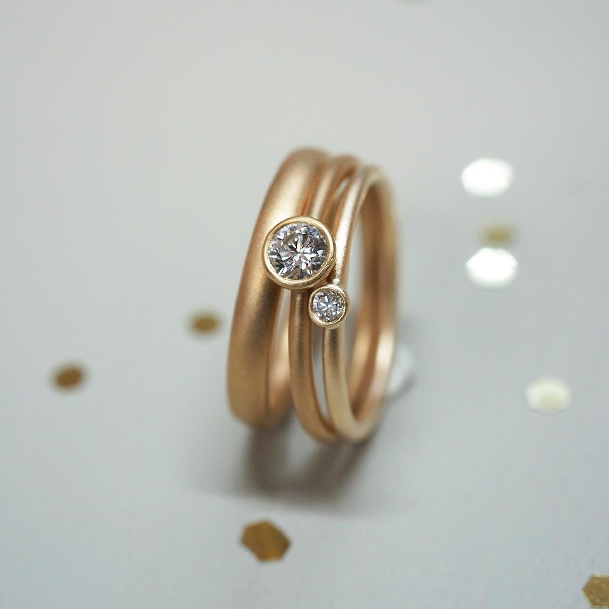 FINGERGLÜCK – Ring mit grossem Diamant und Vorsteckring