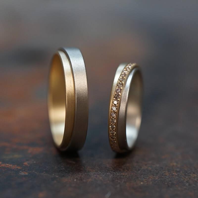 Ringe TANGO – Weissgold und Dawnrose